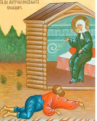 Икона - Святая Матрона исцеляет болящего